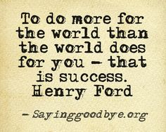 to do more for the world